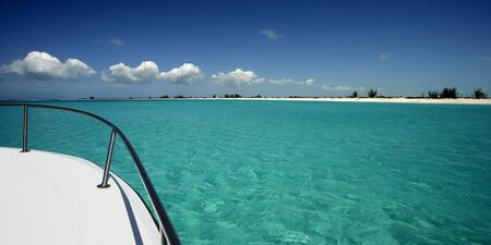 indies: Boating off the shore of Pine Cay