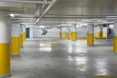Interior view of a new underground parking garage Editorial
