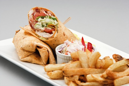sandwiches: Chicken Wrap with French Fries and Coleslaw