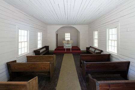 Interior of the First African Baptist Church on Cumberland Island, Georgia