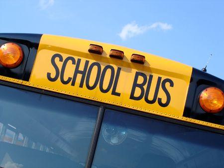 flashers: Comienzo de la p�gina de autob�s escolar Foto de archivo