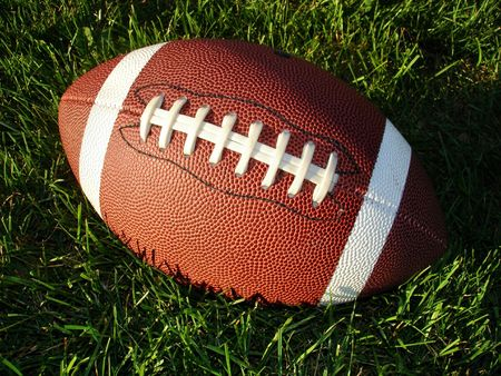 Closeup view of a football on long grass in the sun.
