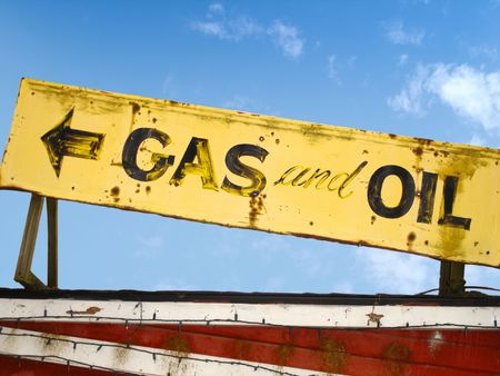 Old Gas And Oil Sign Stock Photo