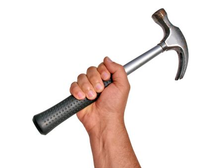 Hammer in Hand Isolated with Clipping Path                          Stock Photo