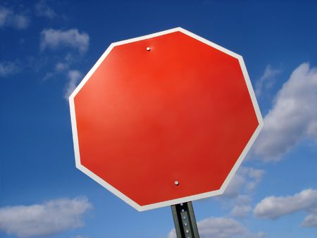 sign: Stop Sign Blank Stock Photo