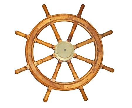 Vieille roue de bateau de style isolé sur blanc. Comprend chemin de détourage. Banque d'images - 10775822