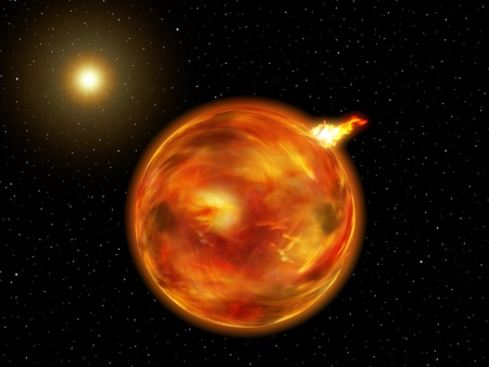 Vue d'une planète de feu dans une galaxie imaginaire. Banque d'images - 10775826