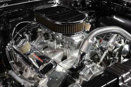 detailed view: Detailed view of an automobile engine.