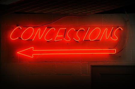 Red concessions néons avec la flèche. Banque d'images - 10887918