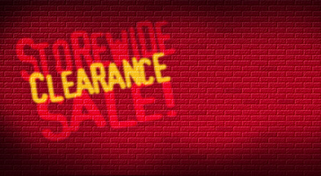 Storewide Clearance Sale logo on brick background. Designed for use as postcard promoting January or After Christmas Sale for a retail etsablishment. Stock Photo