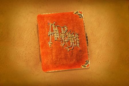 Antique album de la première partie du 20e siècle photo orange. Banque d'images - 34726569