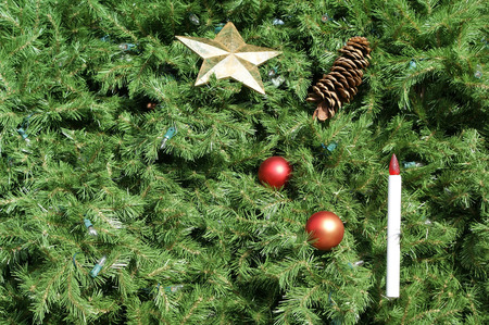 Chritmas tree background with ornaments and lights. Great for use as background. Stock Photo - 34726321