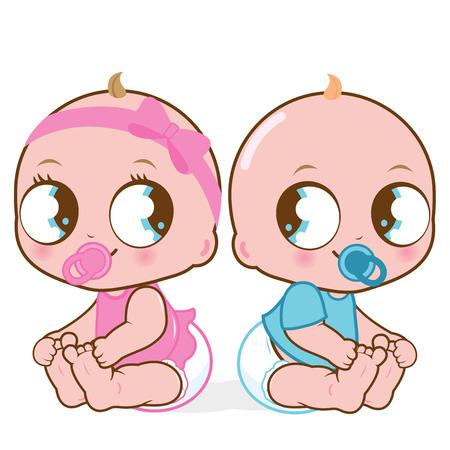 gemelos niÑo y niÑa: Ilustración vectorial de dos bebés lindos de una niña y un niño