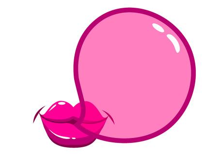 Lips blowing a bubblegum bubble
