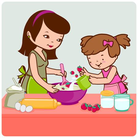 huevo caricatura: Madre e hija que cocinan en la cocina.