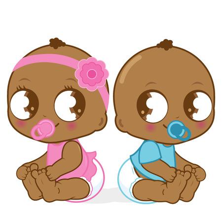 gemelos niÑo y niÑa: Niña afroamericana linda del bebé y el niño Vectores