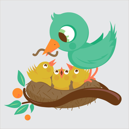 triplets: Bird feeding the young birds in the nest Illustration