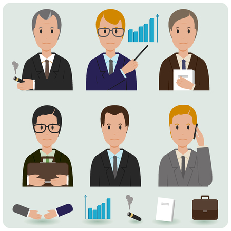 file clerk: A set of business people characters