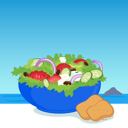vegetable salad: A bowl of Greek salad in a table next to the sea Illustration