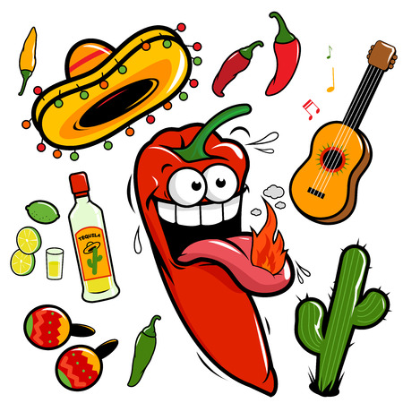Mariachi chili pepper Mexican vector set Çizim