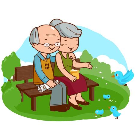 vieil homme assis: Vieux couple dans le parc Illustration