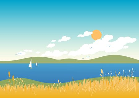 sea grass: Summer beach landscape with flowers, wheat and grass