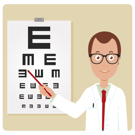 eye wear: Ophthalmologist examining a patient using the eye chart.