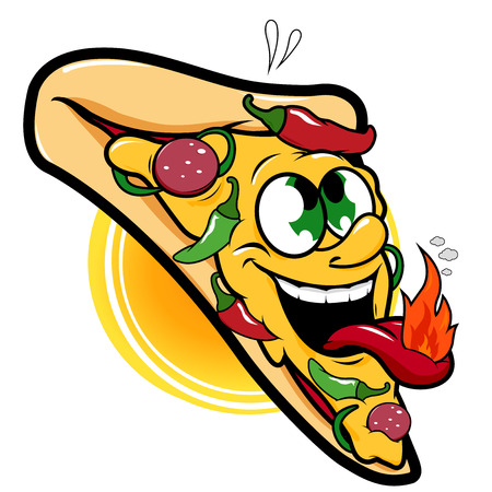 spicy mascot: Spicy hot pepper pizza character