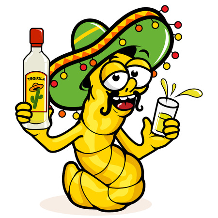 drunk party: Drunk Tequila worm Illustration