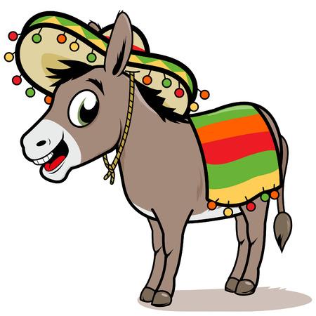 Cartoon Mexican donkey  イラスト・ベクター素材