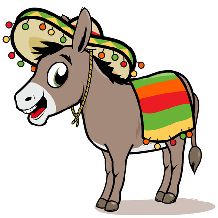 Cartoon Mexican donkey Illustration