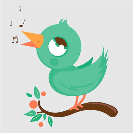birdsong: Cute bird on branch singing