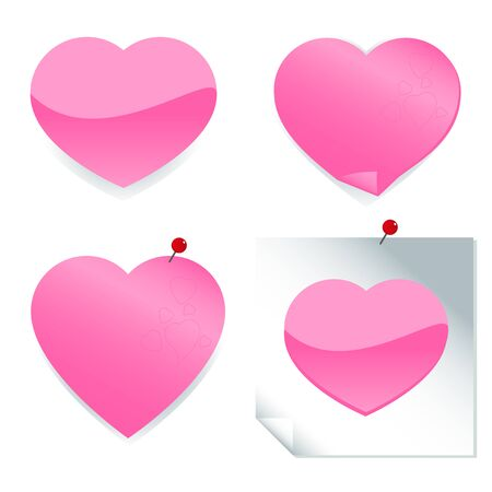 post it note: Adesivi a forma di cuore e post it