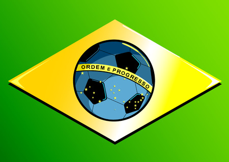 brazilian flag: A Brazilian flag with a soccer ball