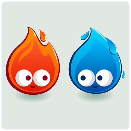 Cute fire and water characters Illustration