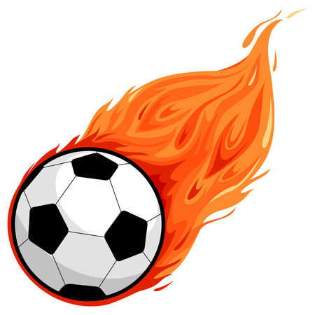 flying: Soccer ball on fire