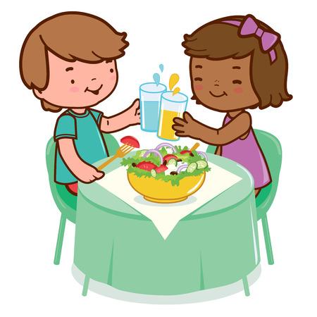 niños comiendo: Niños que comen en una mesa