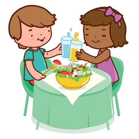 Children eating at a table