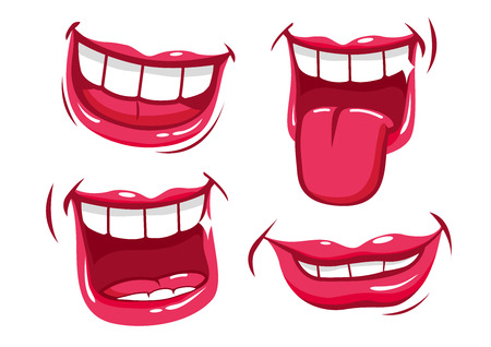 licking tongue: Smiling lips vector set Illustration