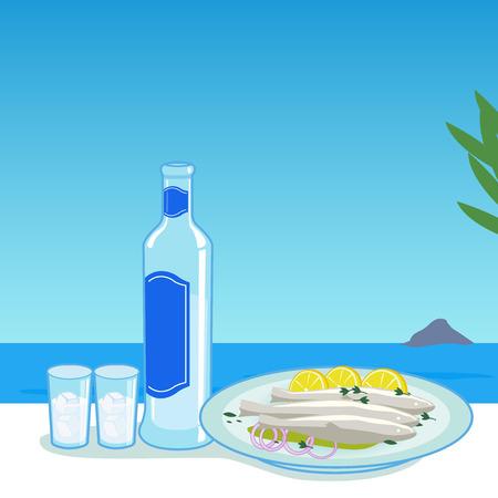 plato de pescado: Botella de ouzo y el pescado cocinado en una mesa al lado del mar