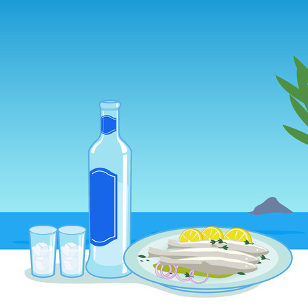 taverns: Bottle of ouzo and cooked fish in a table next to the sea