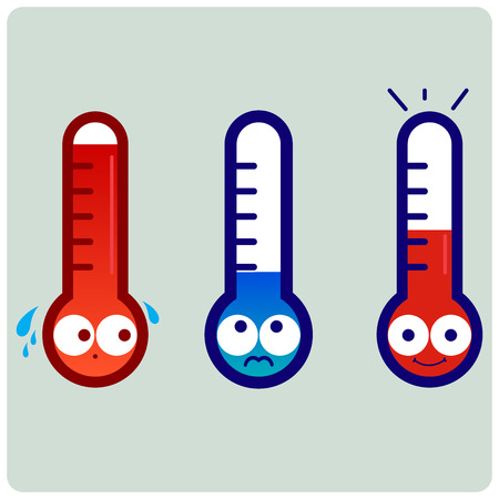 Cartoon thermometers indicating hot, cold and normal temperature.