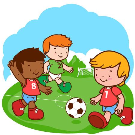 soccer uniform: Soccer kids. Three little boys play football