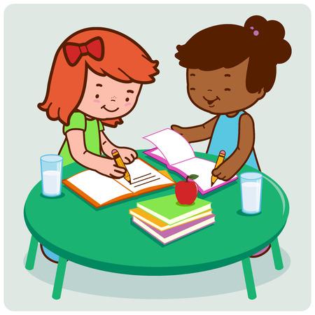 Gli studenti a fare i compiti. Vettoriali