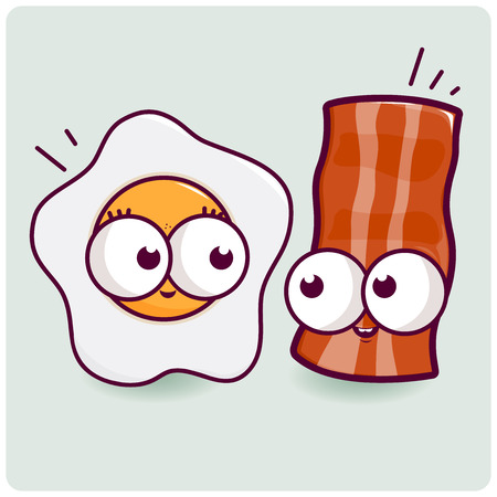 Vector illustration of an egg and a bacon character