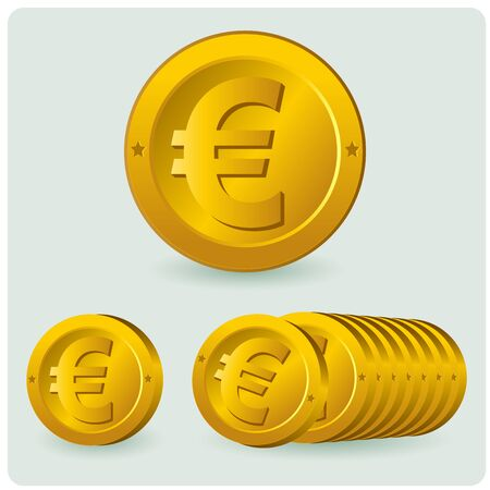 Euro coin. Vector illustration of a Euro coin. Çizim