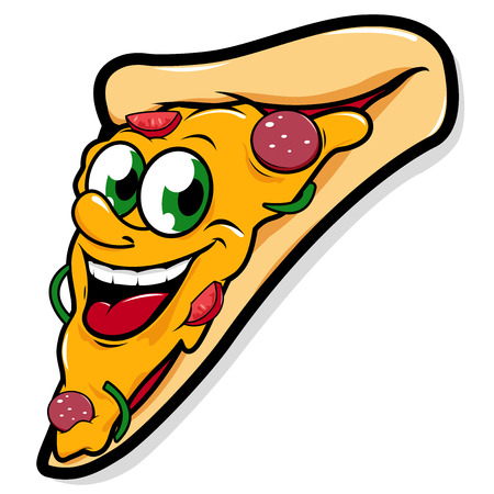 Happy pizza slice vector character Çizim