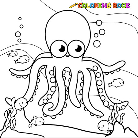 Coloring book underwater octopus