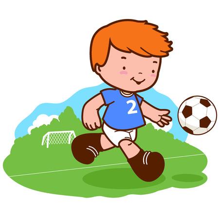jugador futbol americano: Poco muchacho del fútbol de juego. Un niño feliz juega al fútbol Vectores