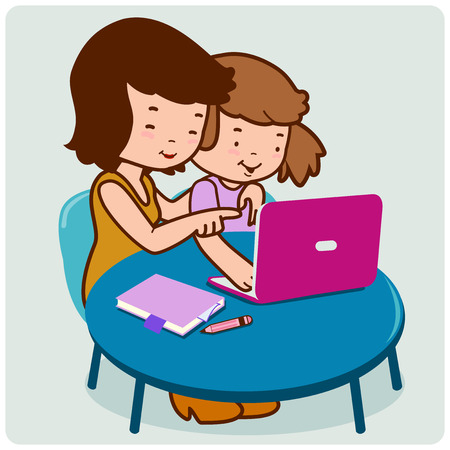home school: Mother and child sitting on the desk in front of the computer. Illustration